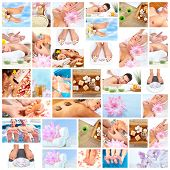 stock photo of personal hygiene  - Beautiful Spa massage collage background - JPG
