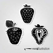 Set of vector decorative strawberries