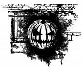 Vector scary Halloween grunge Pumpkin with bricks