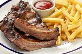 barbecued pork spare ribs and french fries