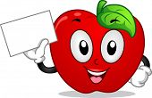 Mascot Illustration Featuring an Apple Holding a Blank Board