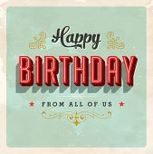 stock photo of birth  - Vintage Birthday Card  - JPG