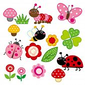 stock photo of bee cartoon  - Cute Garden Insect - JPG