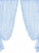 Blue checked curtain