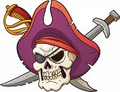 Captain pirate skull. Vector clip art illustration with simple gradients. All in a single layer.