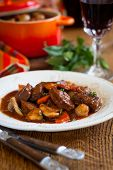 Beef Bourguignon with carrots,onions and mushrooms