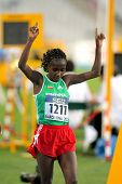BARCELONA - JULY, 11: Ruti Aga of Ethiopia celebrates his silver medal of 5000 meters event of the 2