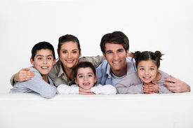 image of foursome  - portrait of happy family - JPG