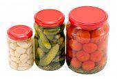 Garlic Cucumber Tomatoes Preserved Glass Jar Pot