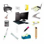 Office Tools Realistic Icon Vector Set