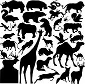 foto of pus  - 30 pieces of wild animals silhouettes on white - JPG