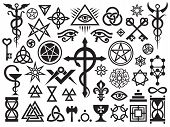 stock photo of witchcraft  - Medieval Occult Signs And Magic Stamps - JPG