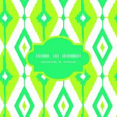 Emerald green ikat diamonds frame seamless patterns backgrounds