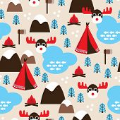 Seamless canada winter wonderland moose illustration background pattern in vector
