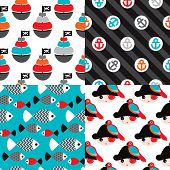 picture of pirate flag  - Seamless pirate marine theme illustration background pattern set in vector - JPG