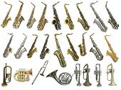 The image of different kinds of wind instruments