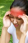 Woman Hand Holding Her Head As Symptom Of Stress, Headache, Migraine Wih Red Alert Accent