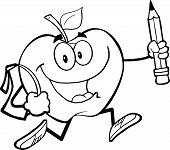 Outlined Happy Apple With School Bag And Pencil Goes To School