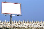 Blank White Billboard Breakwater And Sky