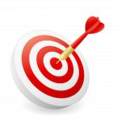image of business success  - Dart hitting target with light shadow on white background - JPG