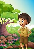Illustration of a young boyscout in the forest