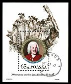 Poland - Circa 1985: A Stamp Printed In Poland, Shows Johann Sebastian Bach And Organ, Circa 1985