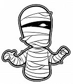 black and white clipart Mummy