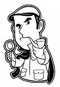 black and white clipart detective