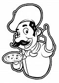 black and white clipart pizza chef