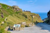 Entrance path to Tintagel Castle Cornwall England