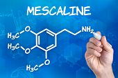 hand with pen drawing the chemical formula of mescaline
