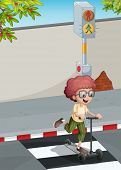 Illustration of a boy with a scooter crossing the pedestrian lane