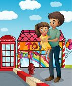 Illustration of a father and his child near the toy store