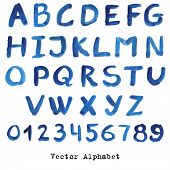Alphabet in blue colors. Watercolor paint. Vector.