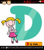 Letter D With Doll Cartoon Illustration