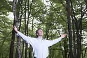 Carefree businessman with arms outstretched standing alone in forest