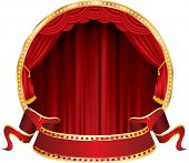 vector perforated red blank banner on circle stage with red curtain