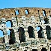 detail of the Flavian Amphitheatre or Coliseum in Rome, Italy