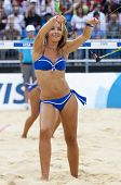 12/08/2011 LONDON, ENGLAND, a cheerleader during the FIVB International Beach Volleyball tournament,