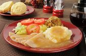 image of biscuits gravy  - Turkey dinner with mashed potatoes and gravy with buttermilk biscuits and red wine - JPG