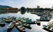The Boats Bunched Together, The Wharf Of Tam Coc, Nature Tourism Tam Coc, Vietnam