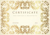 Certificate / Diploma template with floral pattern (tracery)