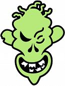 foto of maliciousness  - Scary green zombie with skinny face - JPG