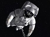 stock photo of orbit  - The astronaut in outer space against stars - JPG
