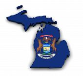 picture of state shapes  - Shape 3d of Michigan state map with flag isolated on white background - JPG