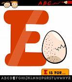 Letra E con huevo Cartoon ilustración