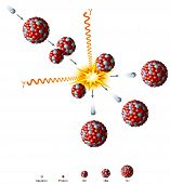 stock photo of nucleus  - Illustration of a radioactive decay process - JPG