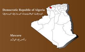 stock photo of khenchela  - Algeria map in 3D on brown background - JPG