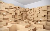 stock photo of warehouse  - Warehouse with many cardboard boxes  - JPG