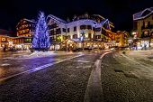 picture of italian alps  - Illuminated Central Square of Madonna di Campiglio in the Evening Italian Alps Italy - JPG